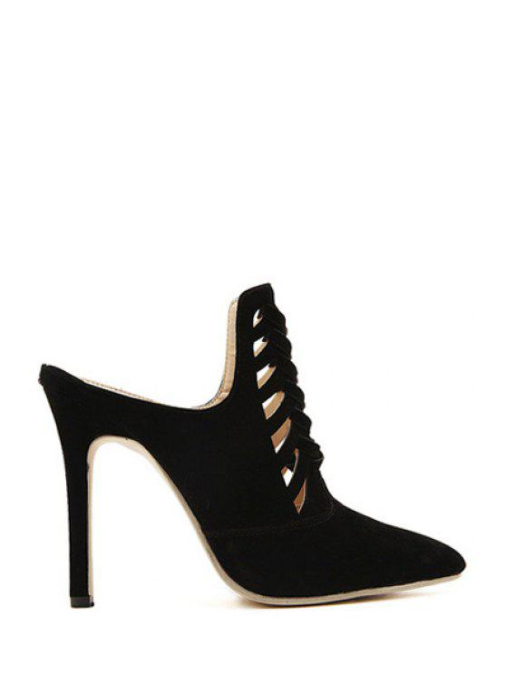 shops Hollow Out Suede Stiletto Heel Slippers - BLACK 35