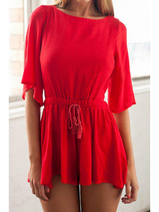 trendy Red Half Sleeve Backless Romper - RED XS