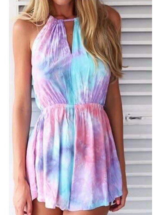 women's Tie-Dyed Print Spaghetti Straps Romper - AS THE PICTURE XS