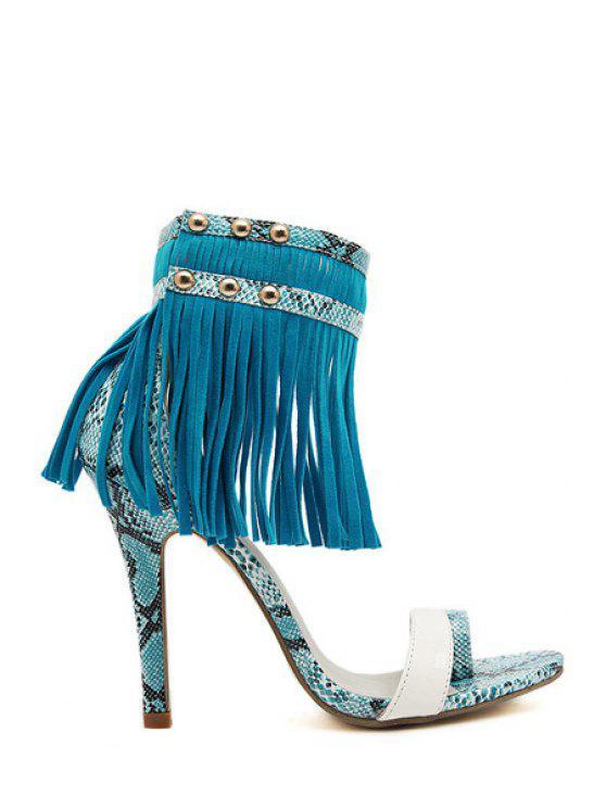 outfits Fringe Snake Print Stiletto Heel Sandals - BLUE 35