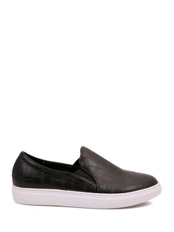 fancy Black Snake Print Round Toe Flat Shoes - BLACK 36