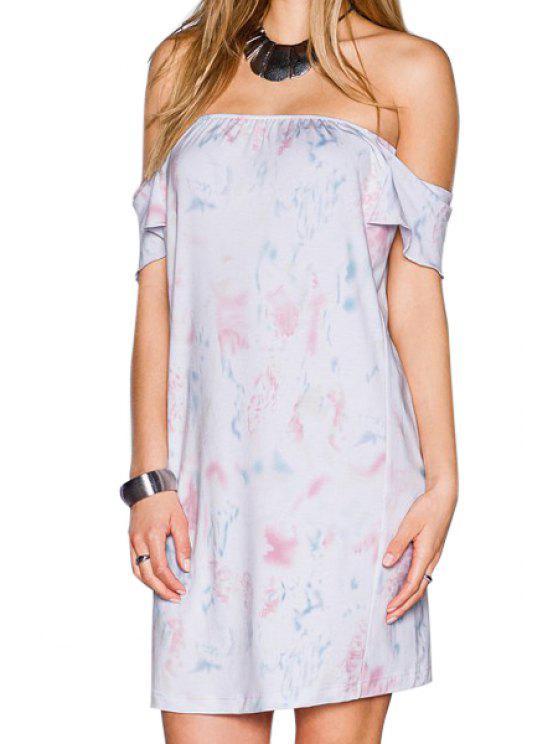 fashion Slash Neck Off-The-Shoulder Printed Dress - WHITE M
