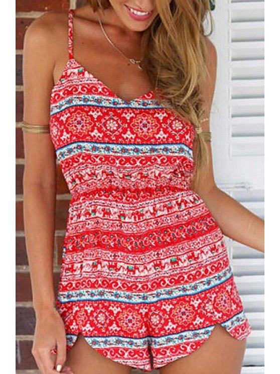 shops Ethnic Red Print Spaghetti Straps Romper - RED S