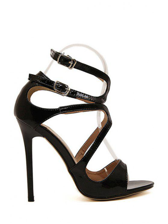 fancy Patent Leather Sexy High Heel Sandals - BLACK 37
