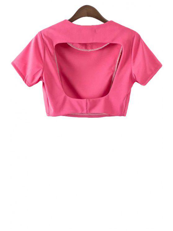 online Solid Color Backless Short Sleeve Crop Top - PINK S