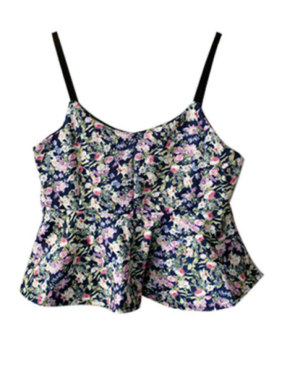 womens Spaghetti Strap Tiny Floral Print Ruffles Tank Top - COLORMIX ONE SIZE(FIT SIZE XS TO M)