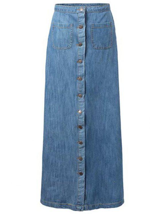 best Single-Breasted Bleach Wash Denim Long Skirt - BLUE M
