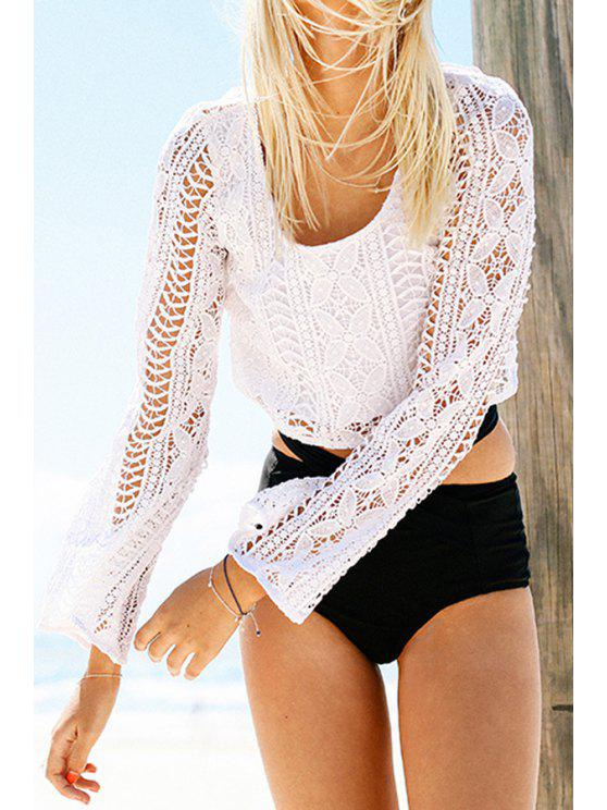 new Long Sleeve Hollow Out White Crop Top - WHITE S
