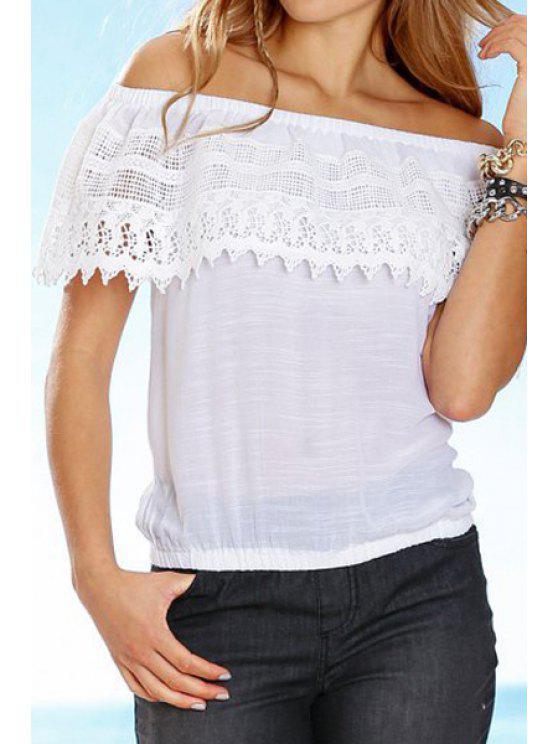 shop Slash Neck Off-The-Shoulder Solid Color Blouse - WHITE S