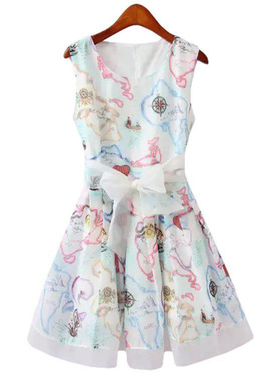 buy Colorful Print Bowknot Sleeveless Dress - WHITE S