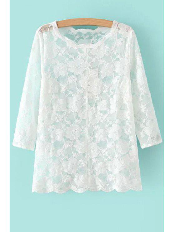 shops Floral Pattern Lace 3/4 Sleeve T-Shirt - WHITE S