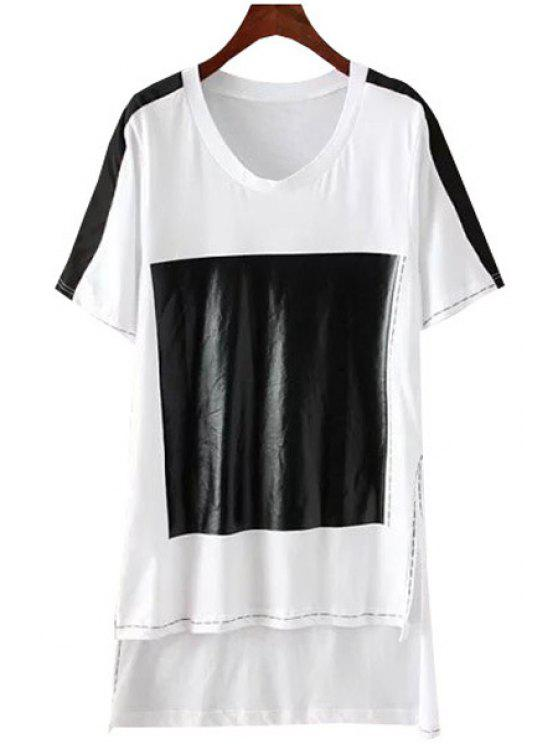 women Black Print High Low Short Sleeve T-Shirt - WHITE XS