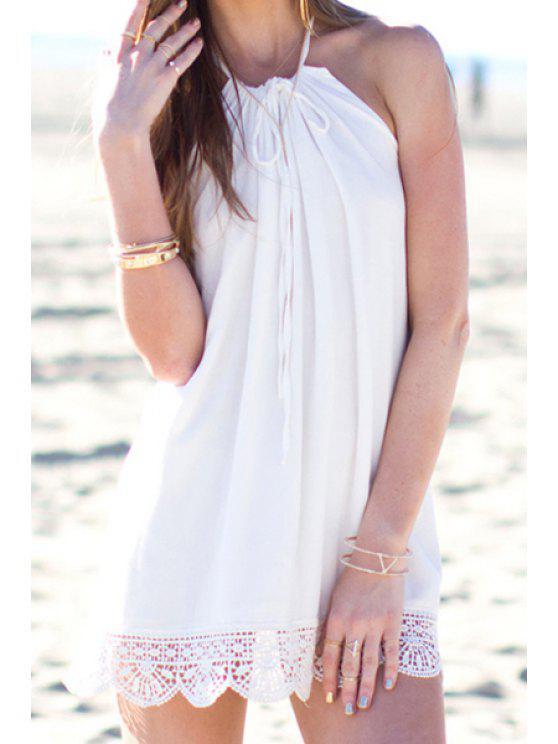 ladies Spaghetti Strap Lace Spliced White Dress - MILK WHITE S