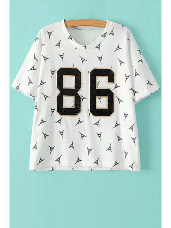best Figure Sequins Iron Tower Print T-Shirt - WHITE M