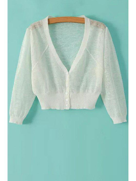 outfits V-Neck Solid Color Cardigan - WHITE ONE SIZE(FIT SIZE XS TO M)