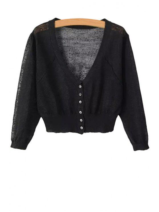 latest V-Neck Solid Color Cardigan - BLACK ONE SIZE(FIT SIZE XS TO M)