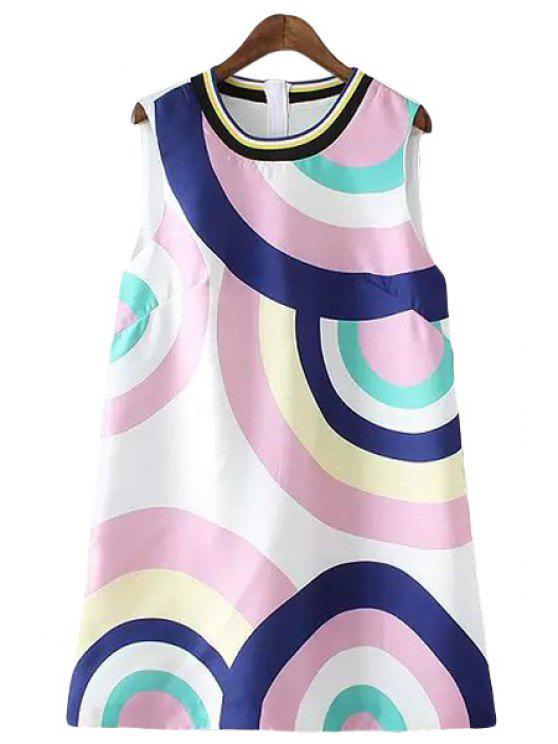 women's Color Block Round Print Sleeveless Dress - PURPLE S