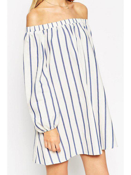 outfits Stripes Slash Collar Long Sleeve Dress - STRIPE L