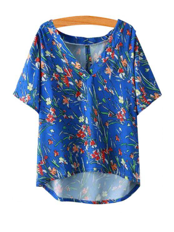 outfit Floral Print High Low Short Sleeve T-Shirt - BLUE S