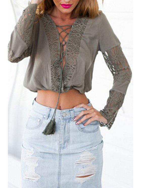 chic Plunging Neck Lace Spliced Crop Top - GREEN S