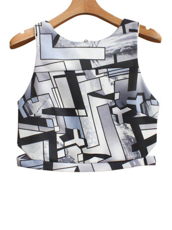 chic Round Neck Geometric Print Zippered Tank Top - BLACK ONE SIZE(FIT SIZE XS TO M)