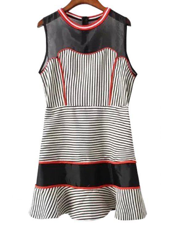 women Color Block Stripe Splicing Sleeveless Dress - WHITE AND BLACK S