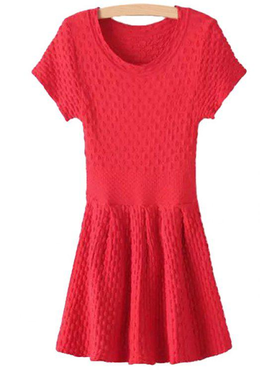 lady Polka Dot Embossing Short Sleeve Dress - RED ONE SIZE(FIT SIZE XS TO M)