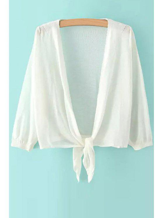 sale Collarless Solid Color Long Sleeve Cardigan - WHITE ONE SIZE(FIT SIZE XS TO M)