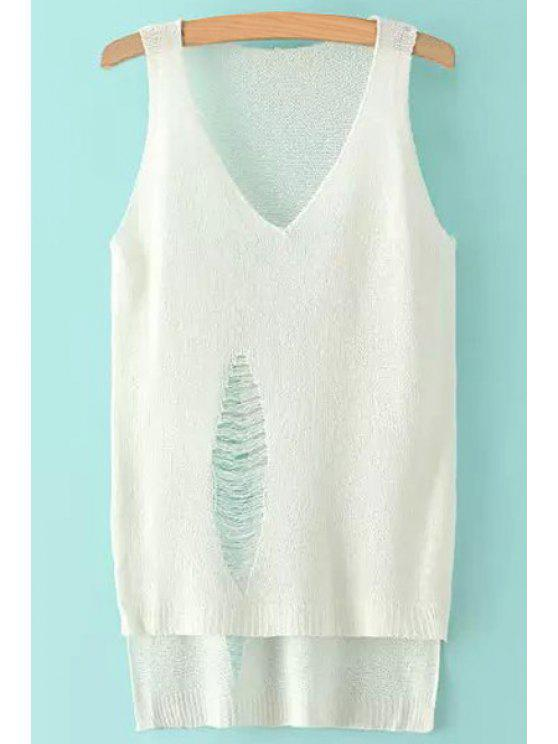 chic Solid Color Hole High Low Sleeveless Sweater - WHITE ONE SIZE(FIT SIZE XS TO M)