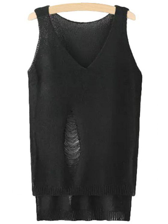 buy Solid Color Hole High Low Sleeveless Sweater - BLACK ONE SIZE(FIT SIZE XS TO M)