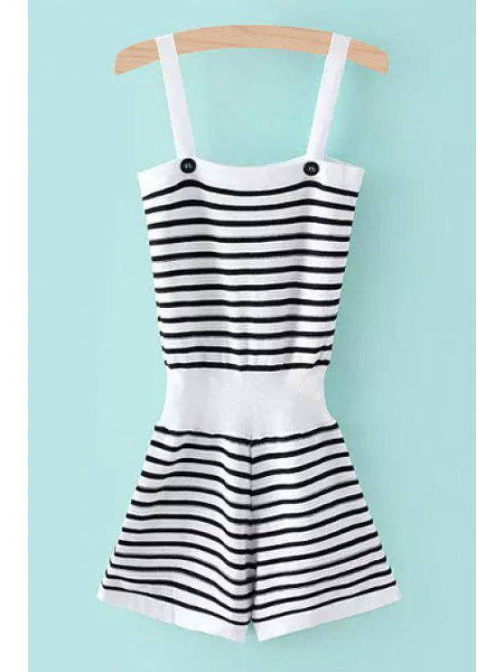 online Color Block Stripe Elastic Waist Sleeveless Romper - WHITE ONE SIZE(FIT SIZE XS TO M)