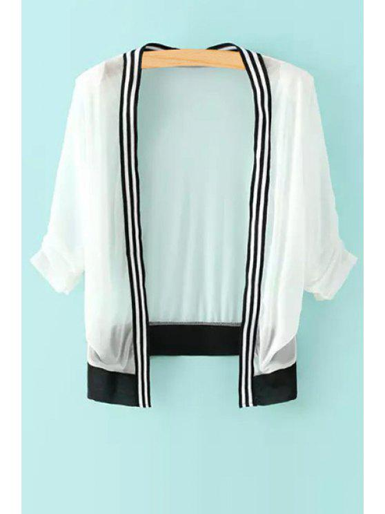 fancy Collarless Stripe Color Block Long Sleeve Coat - WHITE ONE SIZE(FIT SIZE XS TO M)
