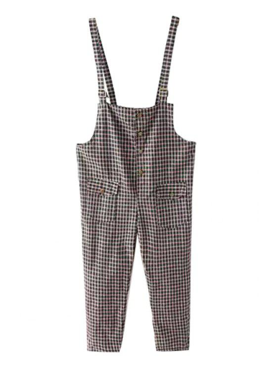 outfit Plaid Pocket Buttons Overalls - GRAY ONE SIZE(FIT SIZE XS TO M)