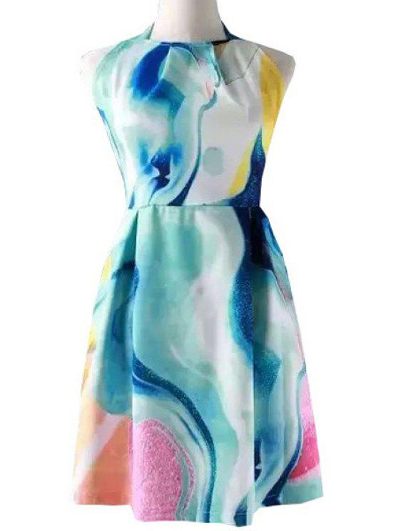 hot Halter Neck Backless Tie Dye Print Dress - COLORMIX S