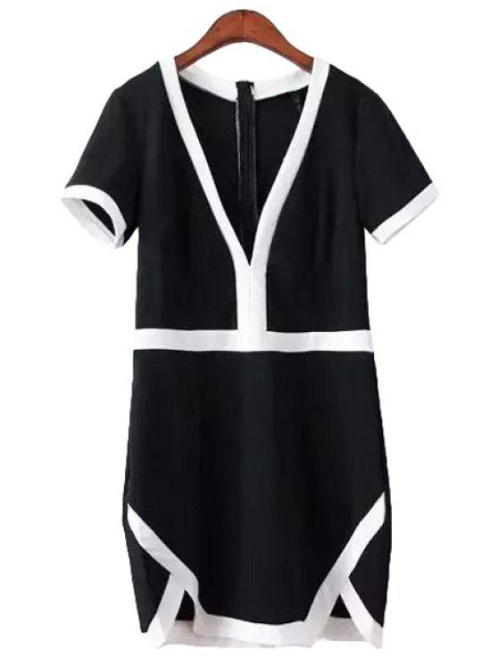 best V-Neck White Edging Jag Short Sleeve Dress - BLACK S