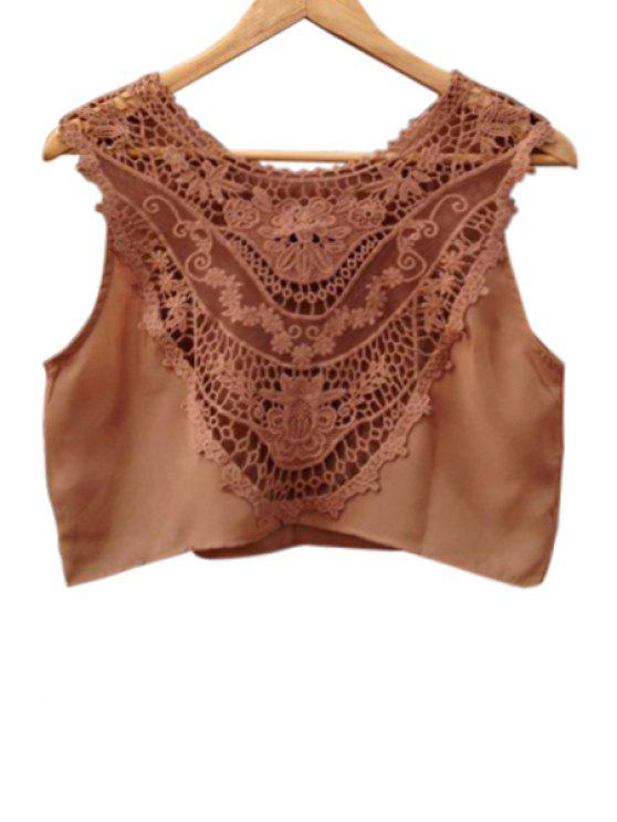 outfit Lace Spliced Scoop Neck Crop Top - AS THE PICTURE S
