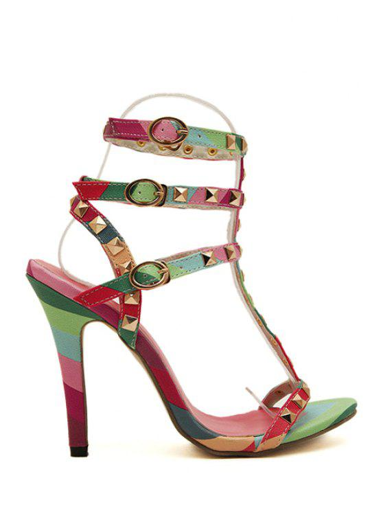 ladies Buckles Rivets Color Block Sandals - COLORFUL 35