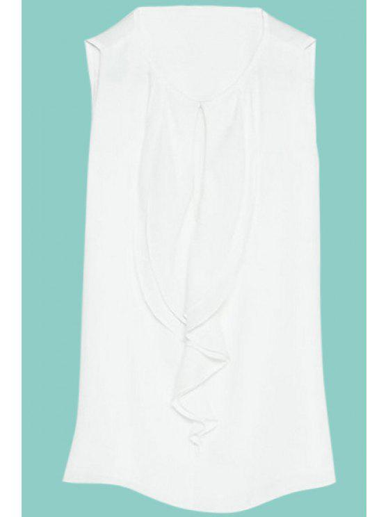 buy Solid Color Flounce Splicing Tank Top - WHITE S