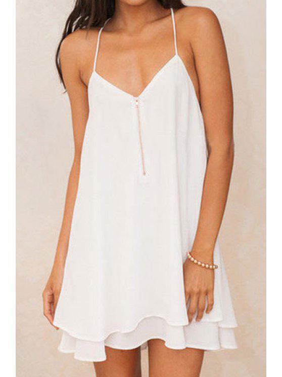outfits Spaghetti Strap Zippered Chiffon Dress - WHITE S