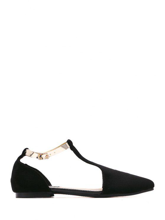 buy T-Strap Pointed Toe Buckle Flat Shoes - BLACK 37