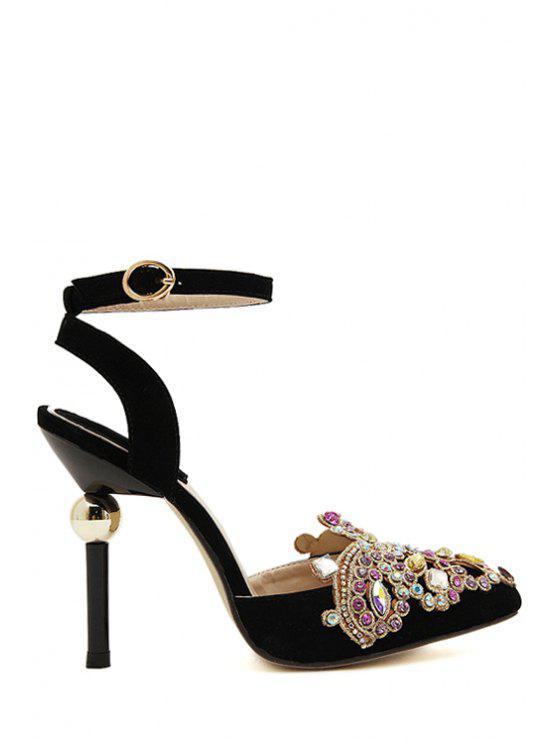 outfit Pointed Toe Stiletto Heel Rhinestones Sandals - BLACK 35