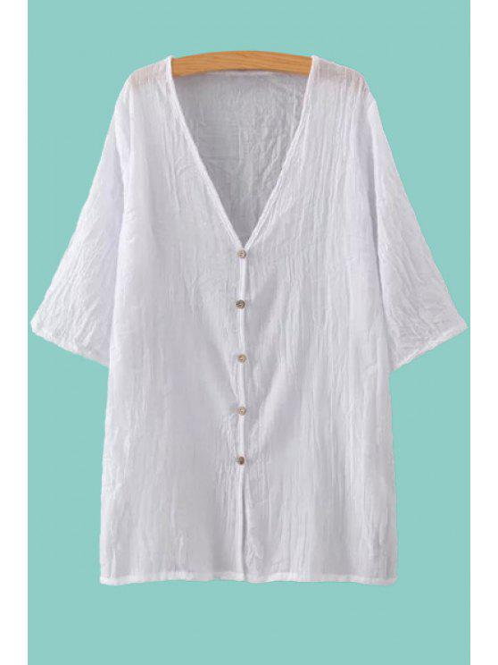outfits Solid Color V Neck Half Sleeve Blouse - WHITE ONE SIZE(FIT SIZE XS TO M)