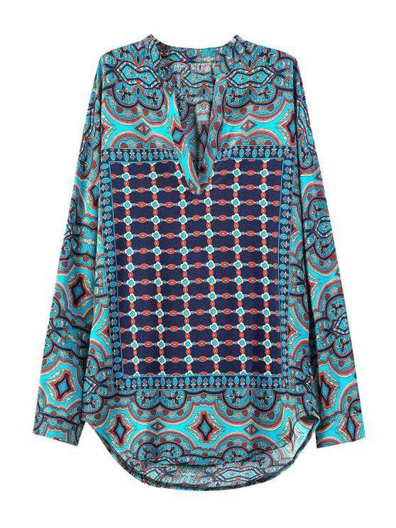 best Floral Print Plaid Asymmetrical Long Sleeve Shirt - COLORMIX S