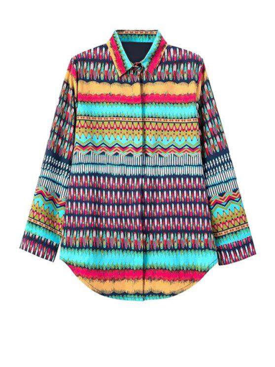 hot Color Block Stripe Print Long Sleeve Shirt - COLORMIX S