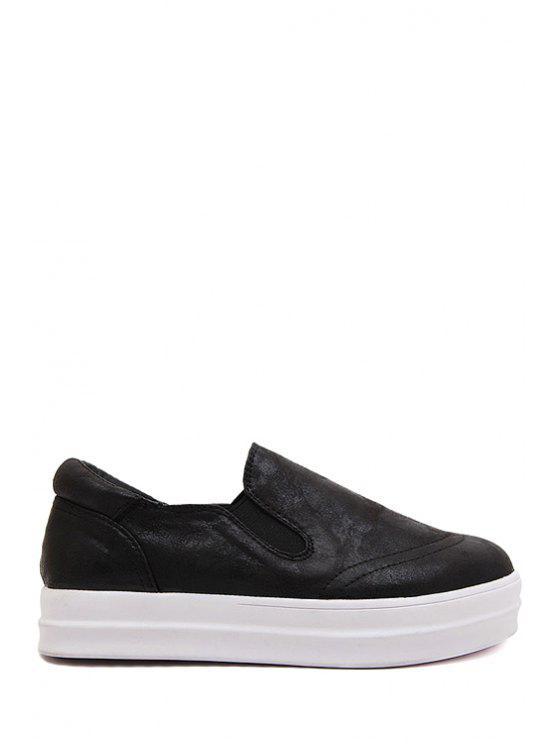 shop Round Toe Color Block Flat Shoes - BLACK 35