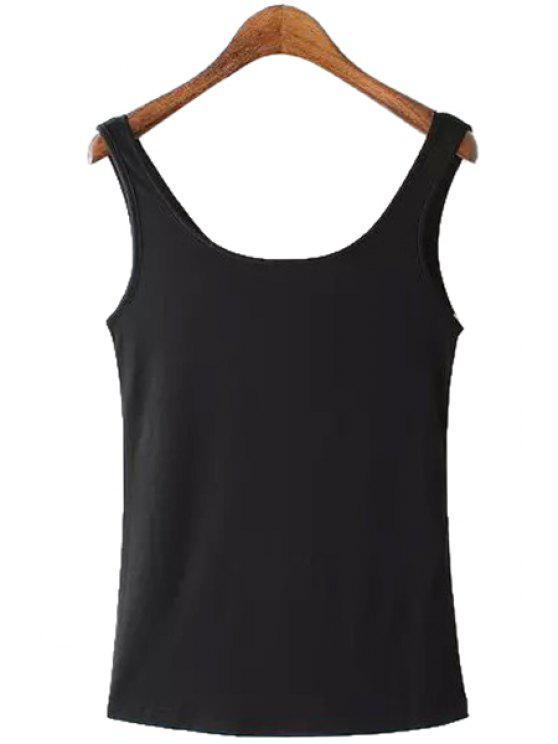 fashion Black Scoop Neck Tank Top - BLACK S