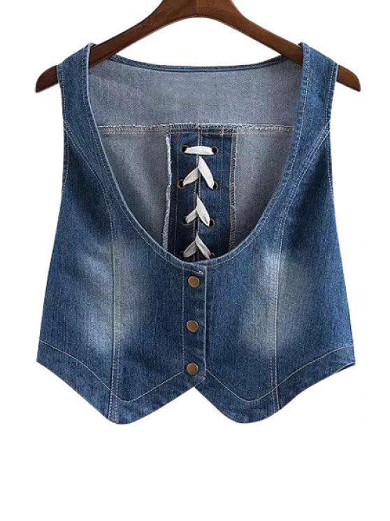 women Bleach Wash Cross Tie-Up Tank Top - BLUE S