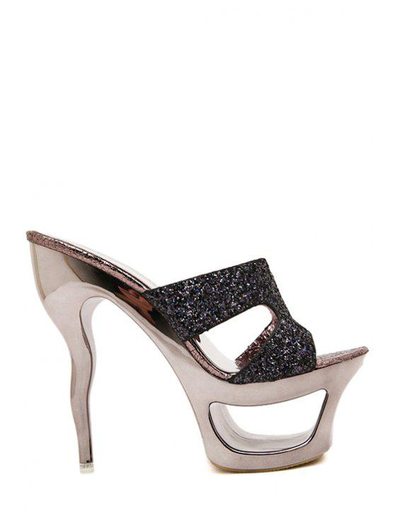 chic Sequined Hollow Out Platform Slippers - GUN METAL 34