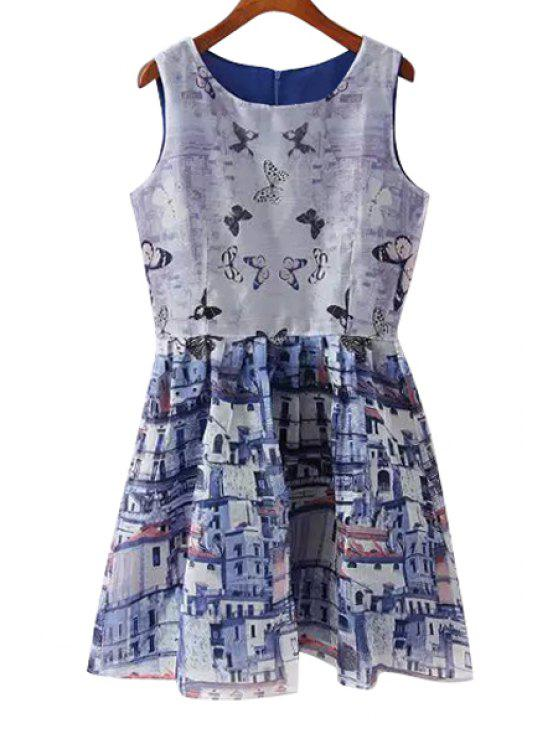 womens Butterfly Building Print Sleeveless Dress - COLORMIX S