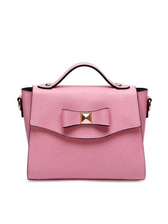 latest Rivets Bowknot Candy Color Crossbody Bag - PINK